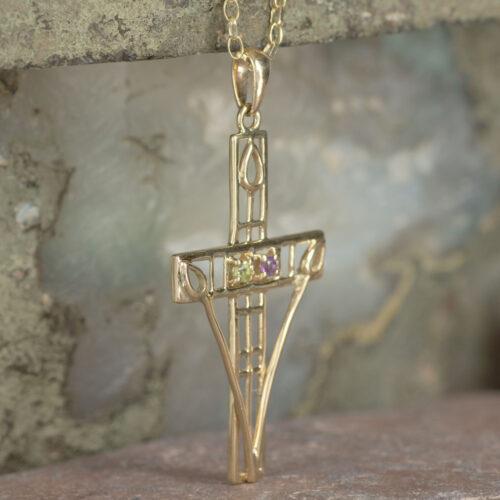 "Cairn 200GAP 9ct Gold Charles Rennie Mackintosh ""Queen's Cross"" Necklace Amethyst & Peridot 3"