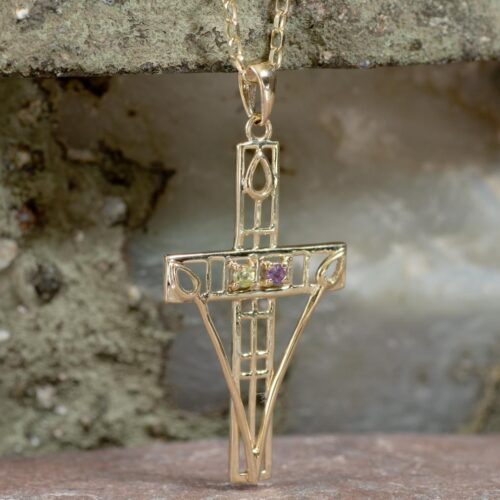 "Cairn 200GAP 9ct Gold Charles Rennie Mackintosh ""Queen's Cross"" Necklace Amethyst & Peridot 6"