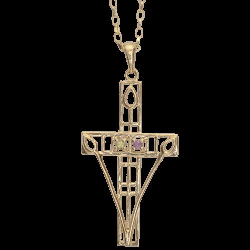 "Cairn 200GAP 9ct Gold Charles Rennie Mackintosh ""Queen's Cross"" Necklace Amethyst & Peridot. British Made."