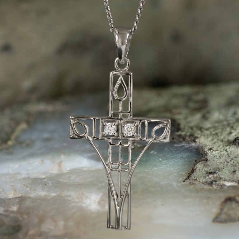 "Sterling Silver Charles Rennie Mackintosh Cross Necklace ""Queen's Cross"" Tarnish Resistant Set With 2 CZs. Cairn 202"