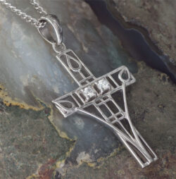 "Cairn 202 Silver Rennie Mackintosh Cross Necklace - ""Queen's Cross"" Tarnish Resistant Set With 2 CZs. British Made. British Made. Rennie Mackintosh Jewellery."