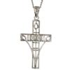 """Queen's Cross"" silver necklace. Charles Rennie Mackintosh. Set with 2 cubic zirconias. Cairn pendant 202"