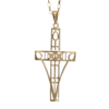 "9ct gold diamond set cross necklace. ""Queen's Cross"". Charles Rennie Mackintosh. Cairn pendant 202GD"