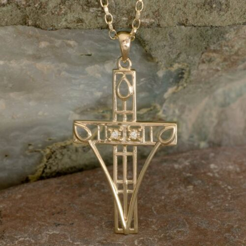 """Cairn 202GD Gold Charles Rennie Mackintosh """"Queen's Cross"""" Necklace Set With Diamonds. 2"""