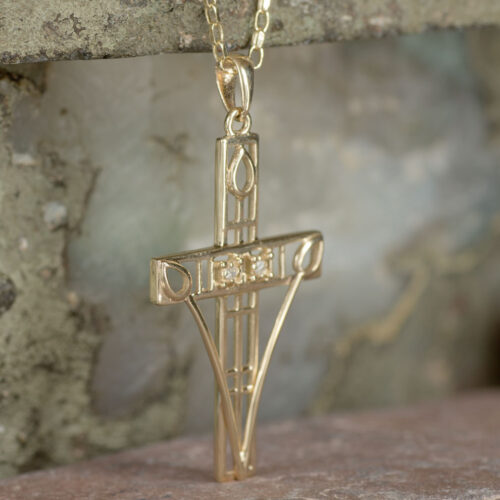 """Cairn 202GD Gold Charles Rennie Mackintosh """"Queen's Cross"""" Necklace Set With Diamonds 5"""