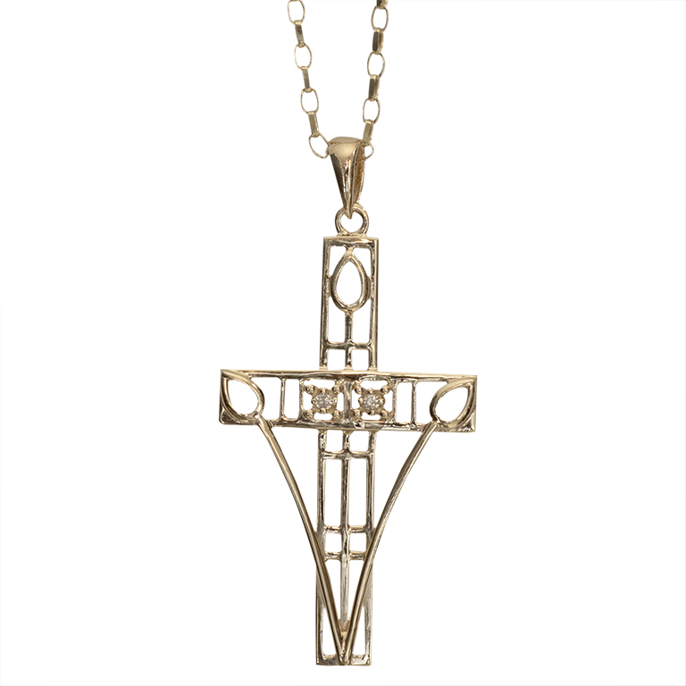 "Gold Charles Rennie Mackintosh Necklace ""Queen's Cross"" Set With Diamonds. Cairn 202GD"