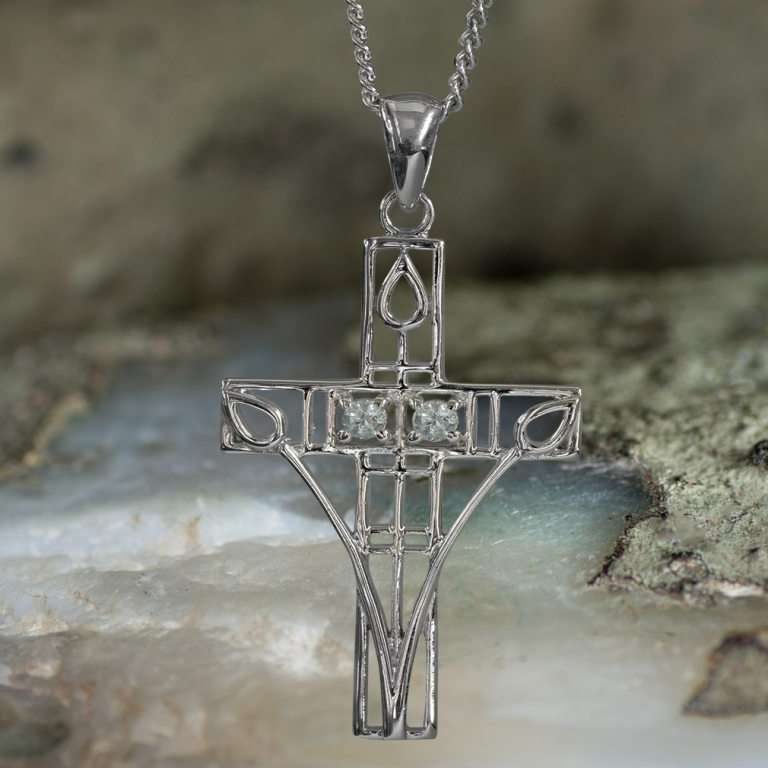 "Sterling Silver Charles Rennie Mackintosh Cross Necklace ""Queen's Cross"" Set With 2 Aquamarines. Tarnish Resistant."