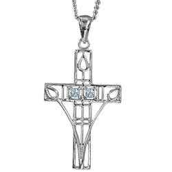 """Charles Rennie Mackintosh Necklace """"Queen's Cross"""" Set With 2 Aquamarines. Sterling Silver. Cairn 204"""