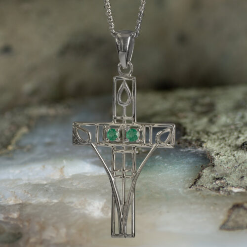 "Sterling Silver Charles Rennie Mackintosh Cross Necklace ""Queen's Cross"" Set With 2 Emeralds. Tarnish Resistant."
