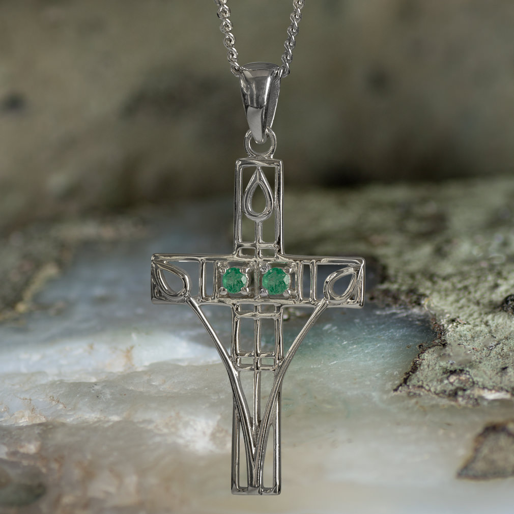 """Sterling Silver Charles Rennie Mackintosh Cross Necklace """"Queen's Cross"""" Set With 2 Emeralds. Tarnish Resistant."""