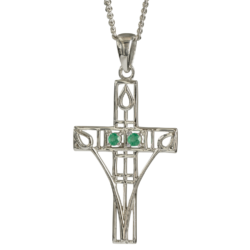 "Charles Rennie Mackintosh Necklace ""Queen's Cross"" Set With 2 Emeralds. Sterling Silver. Tarnish Resistant. Cairn 205"
