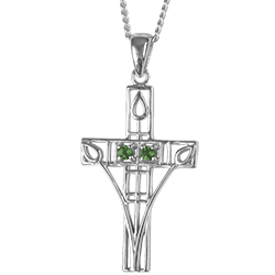 """Charles Rennie Mackintosh Necklace """"Queen's Cross"""" Set With 2 Emeralds. Sterling Silver. Cairn 205"""