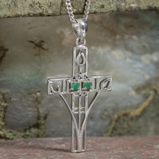 "Cairn 205 Silver Rennie Mackintosh Cross Necklace - ""Queen's Cross"" Set With 2 Emeralds 2"
