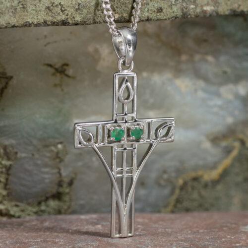 "Cairn 205 Silver Rennie Mackintosh Cross Necklace - ""Queen's Cross"" Set With 2 Emeralds 2"