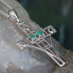 "Cairn 205 Silver Rennie Mackintosh Cross Necklace - ""Queen's Cross"" Set With 2 Emeralds.Tarnish Resistant. British Made. British Made. Rennie Mackintosh Jewellery."