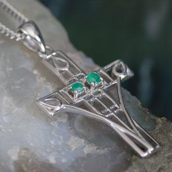 "Cairn 205 Silver Rennie Mackintosh Cross Necklace - ""Queen's Cross"" Set With 2 Emeralds.Tarnish Resistant. British Made. British Made. Rennie Mackintosh Jewellery."