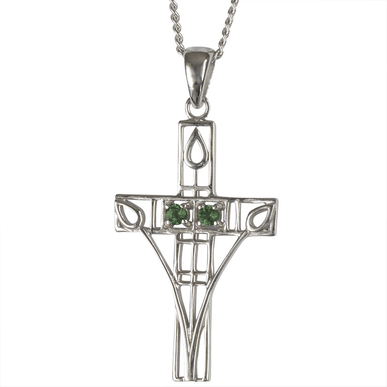 """Charles Rennie Mackintosh Necklace """"Queen's Cross"""" Set With 2 Emeralds. Sterling Silver. Tarnish Resistant. Cairn 205"""
