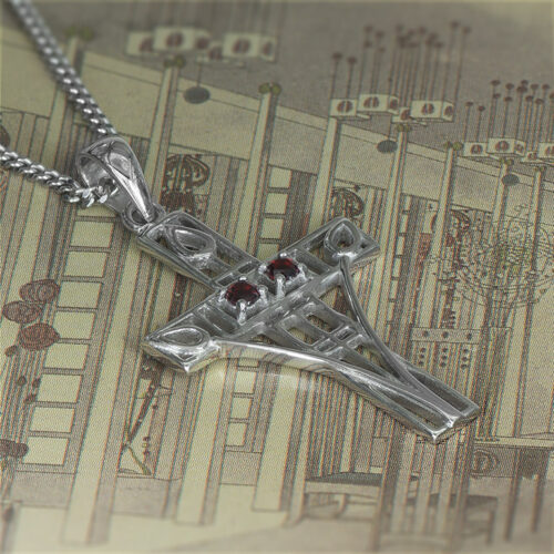 """Charles Rennie Mackintosh Necklace """"Queen's Cross"""" Set With 2 Garnets. Sterling Silver. Tarnish Resistant. Cairn 206"""