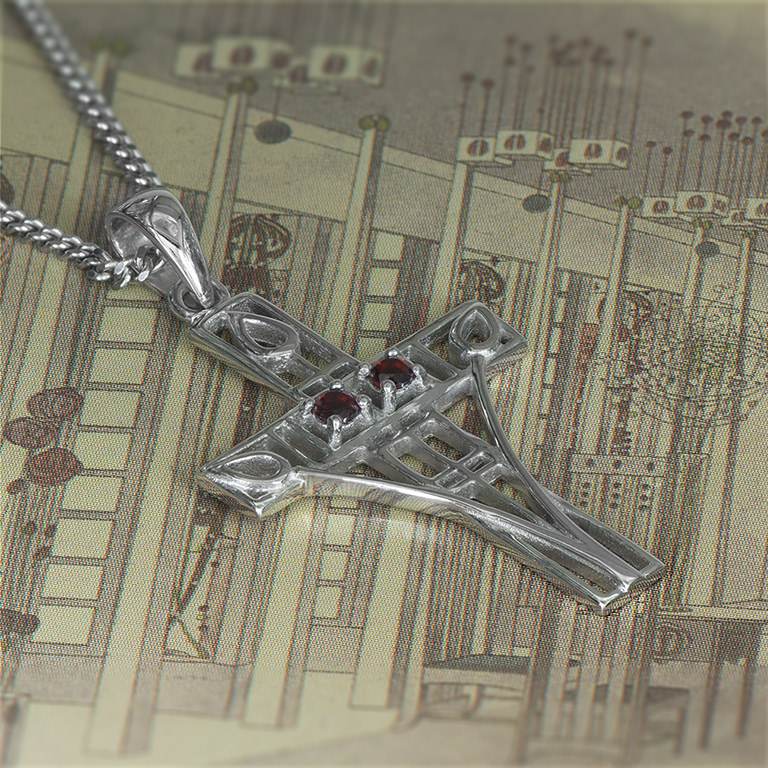 "Charles Rennie Mackintosh Necklace ""Queen's Cross"" Set With 2 Garnets. Sterling Silver. Tarnish Resistant. Cairn 206"