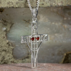 "Cairn 206 Silver Rennie Mackintosh Cross Necklace - ""Queen's Cross"" Set With 2 Garnets 2"