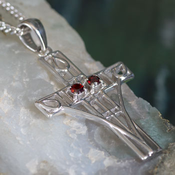 "Cairn 206 Silver Rennie Mackintosh Cross Necklace - ""Queen's Cross"" Set With 2 Garnets.Tarnish Resistant. British Made. British Made. Rennie Mackintosh Jewellery."