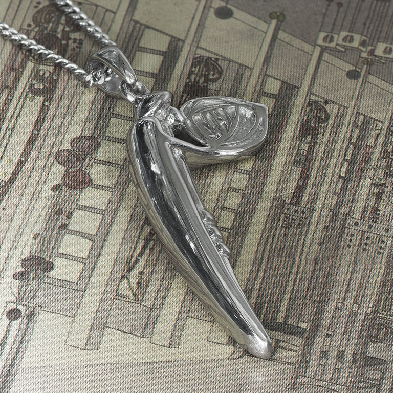 """Feature Solid, Heavy Charles Rennie Mackintosh Necklace """"Lady Rose"""" Sterling Silver. Tarnish Resistant. Cairn 210"""