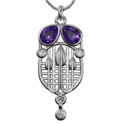 Charles Rennie Mackintosh pendant Tassel. Sterling silver. Amethysts And Cubic Zirconias. Cairn CG 226AC