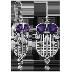 Charles Rennie Mackintosh earrings Tassel. Sterling silver. Amethysts & cubic zirconias. Cairn CG 227AC