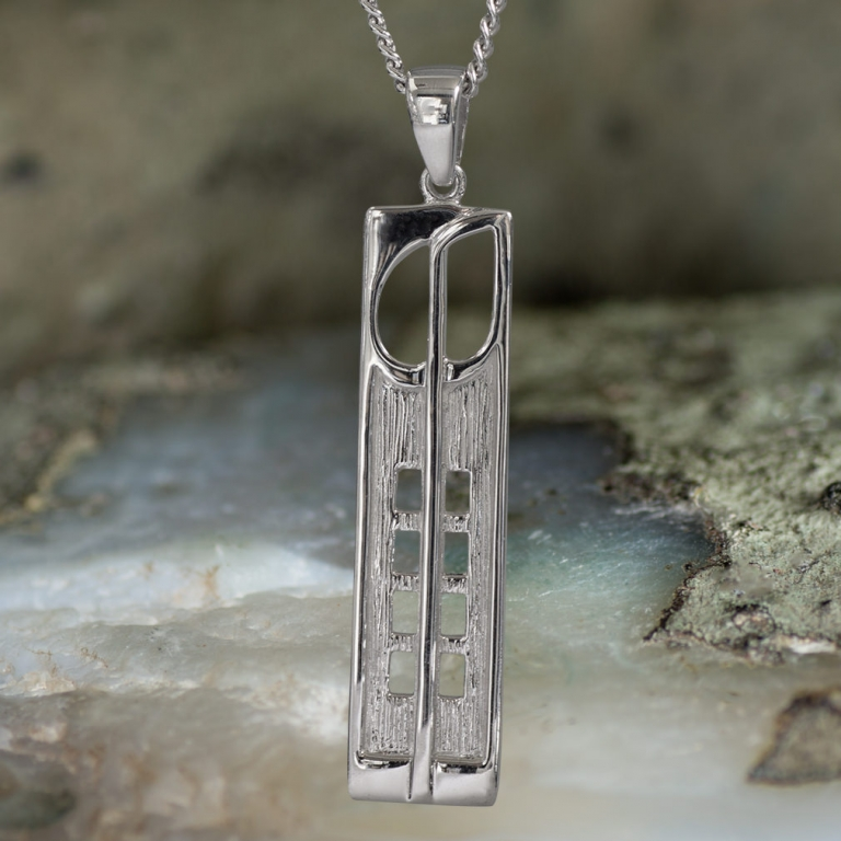 """Sterling Silver Charles Rennie Mackintosh Pendant """"Hill House"""". Tarnish Resistant. Cairn 230"""