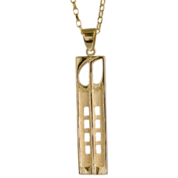 "9ct gold ""Hill House"" necklace. Charles Rennie Mackintosh. Cairn pendant 230G"