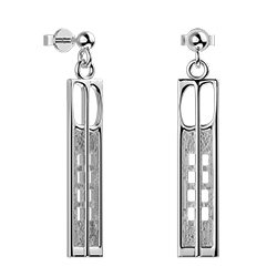 Charles Rennie Mackintosh earrings Hill House. Sterling silver. Cairn 232