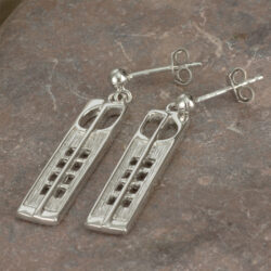 "Cairn 232 Silver Rennie Mackintosh Earrings - ""Hill House"". Tarnish Resistant. British Made. Rennie Mackintosh Jewellery."