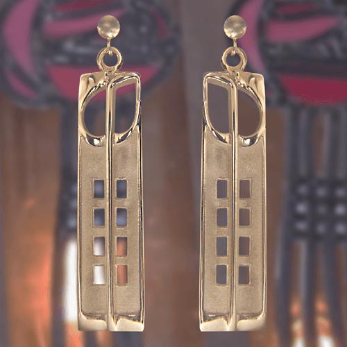 "Charles Rennie Mackintosh Gold Earrings ""Hill House"" | 232G |"
