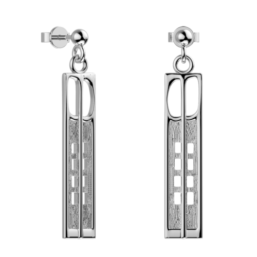 """Hill House"" silver earrings. Charles Rennie Mackintosh. Cairn 232"