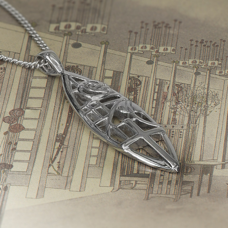 "Charles Rennie Mackintosh Necklace ""Martyr"". Sterling Silver. Tarnish Resistant. Cairn 261"