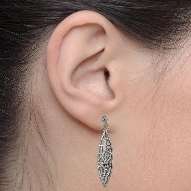 """Charles Rennie Mackintosh Earrings """"McNair"""". Sterling Silver. Tarnish Resistant. Cairn 282"""