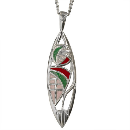 "Enamel Set Charles Rennie Mackintosh Necklace ""Montage"". Sterling Silver. Tarnish Resistant. Cairn 291"