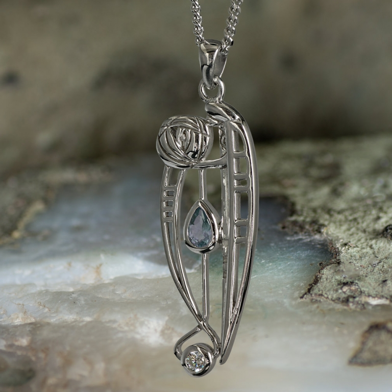"Sterling Silver Charles Rennie Mackintosh Pendant ""Catherine"" Set With Aquamarine & Cz. Tarnish Resistant."