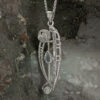 """Charles Rennie Mackintosh Necklace """"Catherine"""" Set With Aquamarine & Cz. Sterling Silver. Tarnish Resistant. Cairn 301"""