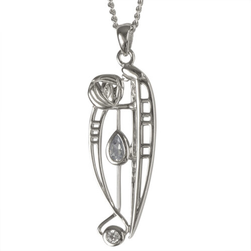 "Charles Rennie Mackintosh Necklace ""Catherine"" Set With Aquamarine & Cz. Sterling Silver. Tarnish Resistant. Cairn 301"