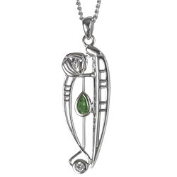 """Charles Rennie Mackintosh Necklace """"Catherine"""" Set With Emerald & Cz. Sterling Silver. Cairn 306"""