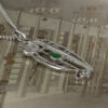 """Charles Rennie Mackintosh Necklace """"Catherine"""" Set With Emerald & Cz. Sterling Silver. Tarnish Resistant. Cairn 306"""