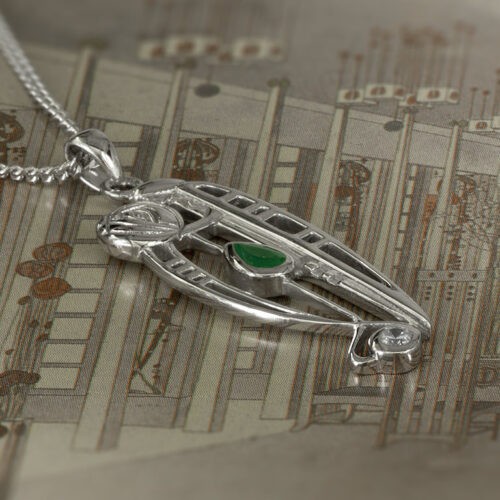 "Charles Rennie Mackintosh Necklace ""Catherine"" Set With Emerald & Cz. Sterling Silver. Tarnish Resistant. Cairn 306"