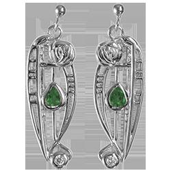 Emeralds & cubic zirconias. Silver Charles Rennie Mackintosh earrings. Cairn 307