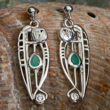 "Cairn 307 Silver Rennie Mackintosh Earrings ""Catherine"" Emerald & CZ. Tarnish Resistant. British Made. Rennie Mackintosh Jewellery."