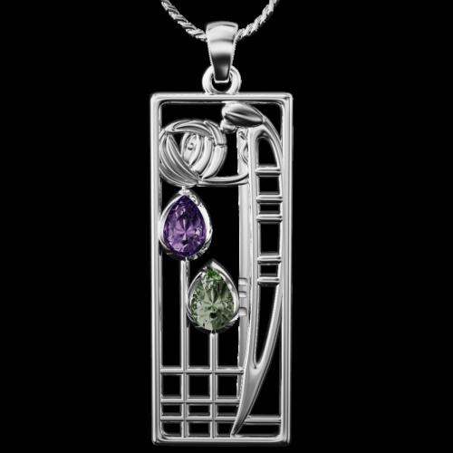 Charles Rennie Mackintosh pendant Lover. Sterling silver. Amethyst & peridot. Cairn CG 310