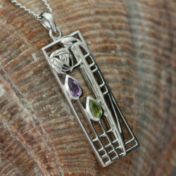 "Cairn 310 Silver Rennie Mackintosh Pendant - ""Lover"" Tarnish Resistant. Amethyst & Peridot. British Made. Rennie Mackintosh Jewellery."