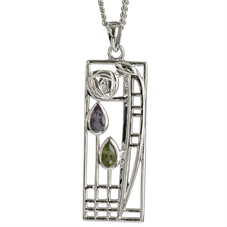 "Charles Rennie Mackintosh Necklace ""Lover"" Sterling Silver. Tarnish Resistant. Amethyst & Peridot. Cairn 310"