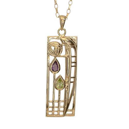Amethyst & peridot 9ct gold necklace. Charles Rennie Mackintosh. Cairn pendant 310GAP Lover