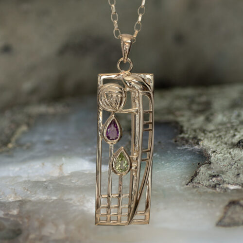 "9ct Gold Charles Rennie Mackintosh Necklace ""Lover"" Amethyst & Peridot. Cairn 310GAP"